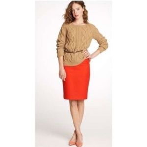 J. Crew Orange Wool Pencil Skirt Size 0